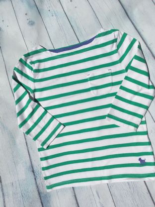 Mini Boden green and white striped harbour top age 6-7